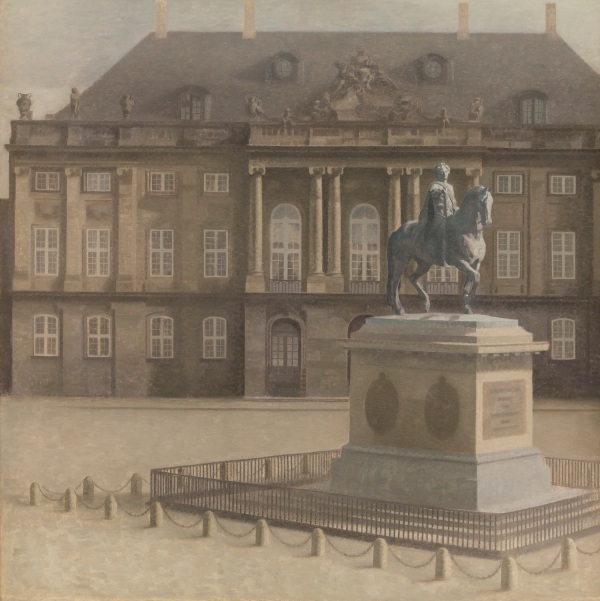 Vilhelm Hammershøi Amalienborg Palace Square, Copenhagen 1896 Oil on canvas 136.5 x 136.5 cm National Gallery of Denmark. Click on image to enlarge.