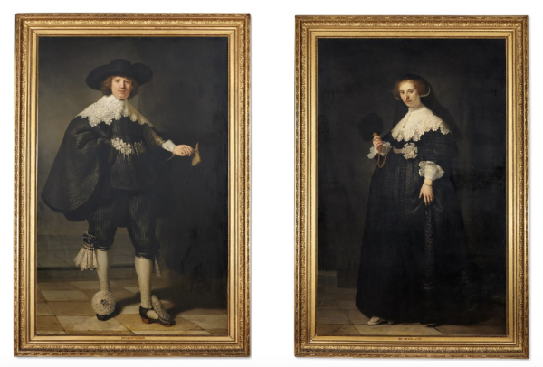 The portraits of Maerten Soolmans and Oopjen Coppit, painted by Rembrandt van Rijn just before their wedding in 1634. Click on image to enlarge.