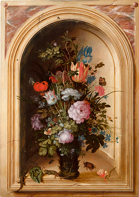 Roelandt Savery (Kortrijk, 1576 – Utrecht, 1639), A still life of flowers in a vase with lizards, a rhinoceros-horn beetle and other insects in a niche with a trompe l'oeil gilt frame Signed and dated lower left: R. SAVERY. FE. 1615 Oil on panel: 63.5 x 45.1 cm. (25 x 173⁄4 in.)
