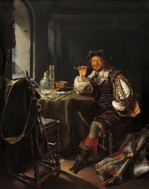 Frans van Mieris An Interior with a Soldier Smoking a Pipe, c. 1657 oil on panel 32.4 x 25.4 cm (12 3/4 x 10 in.) National Gallery of Art, Washington The Lee and Juliet Folger Fund/The Folger Fund