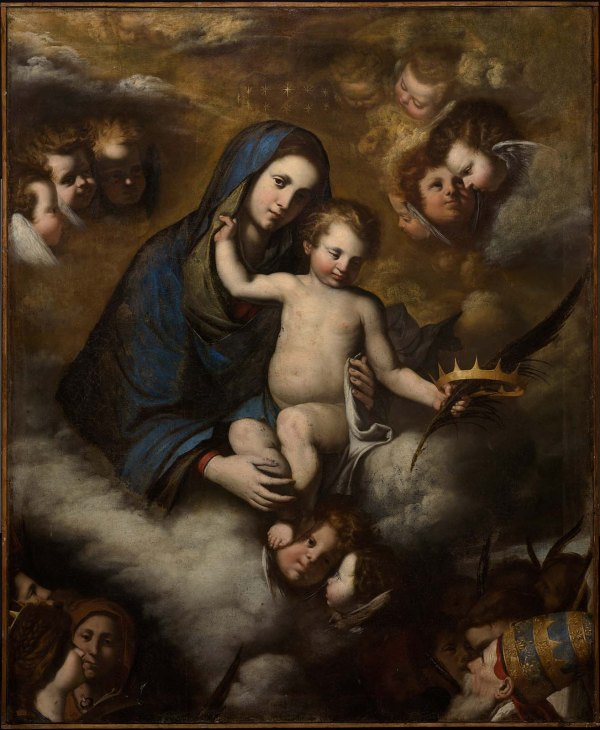 Pietro Novelli, The Virgin and Child in Glory. Oil on canvas: Overall: 145.4 x 120cm (57 1/4 x 47 1/4in.) Framed: 168.9 x 143.5 cm (66 1/2 x 56 1/2 in.) Museum of Fine Arts, Boston Click on image to enlarge.