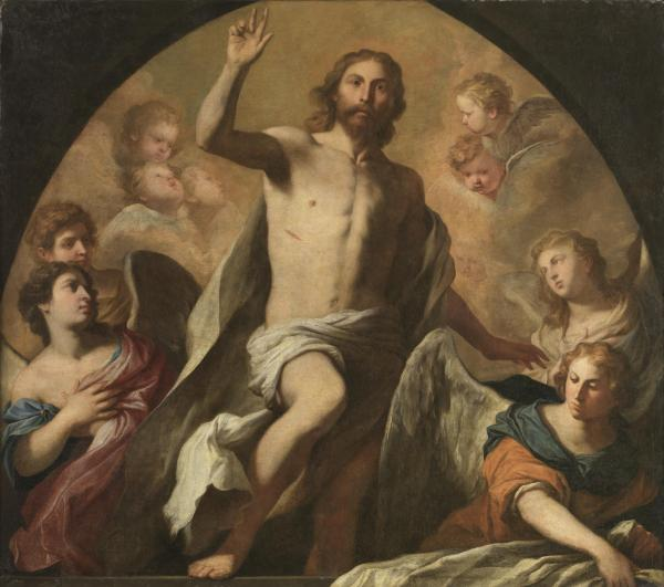 Pietro Novelli, The Resurrection of Christ. Oil on canvas: 163 x 181 cm. Click on image to enlarge.