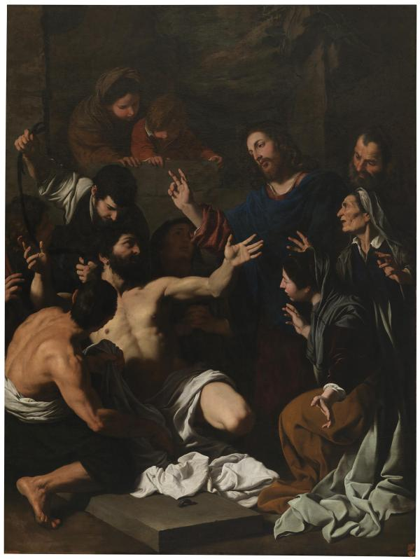 Pietro Novelli, The Resurrection of Lazarus. Oli on canvas: 239 x 178 cm. Museo del Prado Click on image to enlarge.