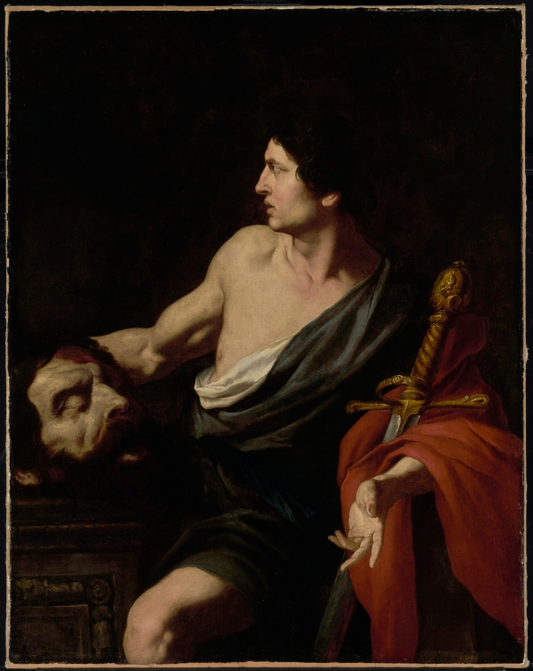 Pietro Novelli, David with the Head of Goliath, about 1630s Oil on canvas: 129.5 x 102.2 cm (51 x 40 1/4 in.) The J. Paul Getty Museum, Los Angeles Click on image to enlarge.