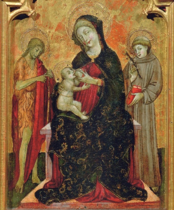 GIOVANNI DA GAETA (NAPLES ACTIVE 1448 – C. 1472 GAETA) Madonna Lactans with Saint John the Baptist and Saint Anthony of Padua - detail. Click on image to enlarge.