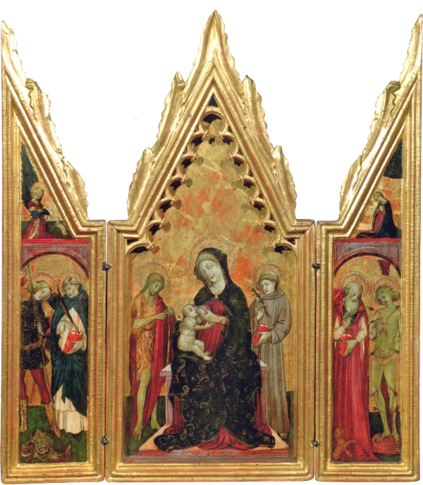 GIOVANNI DA GAETA (NAPLES ACTIVE 1448 – C. 1472 GAETA) Madonna Lactans with Saint John the Baptist and Saint Anthony of Padua;