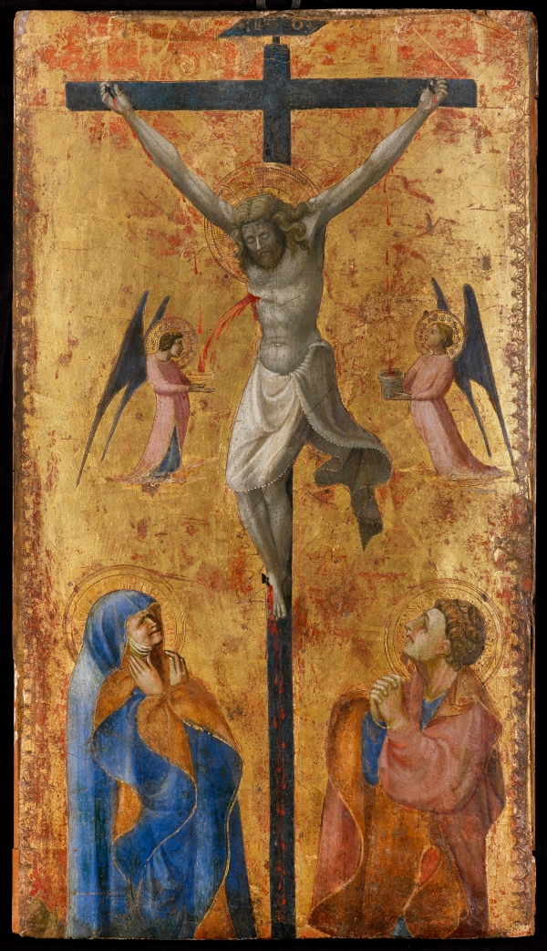 PAOLO DI DONO, CALLED PAOLO UCCELLO (FLORENCE 1397 – 1475) The Crucifixion Tempera and gold on panel 23 5/8 x 13 3/8 in. (60 x 34 cm.) Courtesy Agnew's Click on image to enlarge.