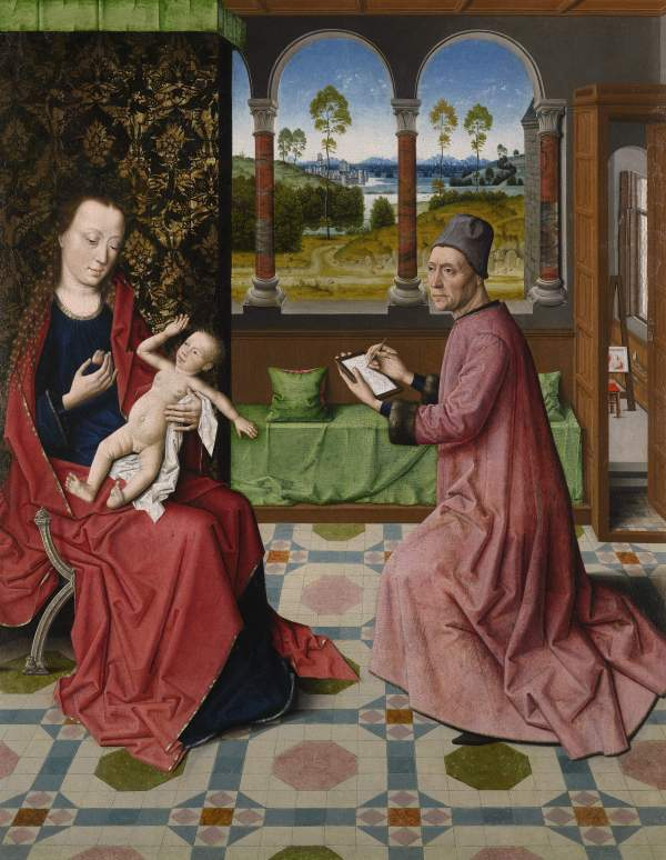 Dieric Bouts (c. 1415-1475), St. Luke Drawing the Virgin (c. 1440-1475) Oil on panel transferred to canvas Click on image to enlarge.