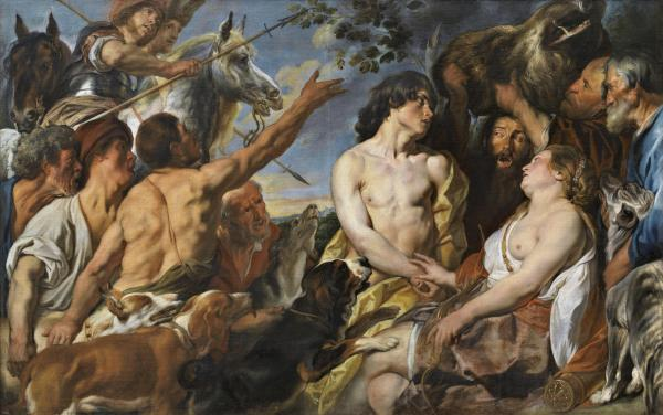 Jacob Jordans, Meleager and Atalanta. Oil on canvas: 152.3 x 240.5 cm. Prado Click on image to enlarge.