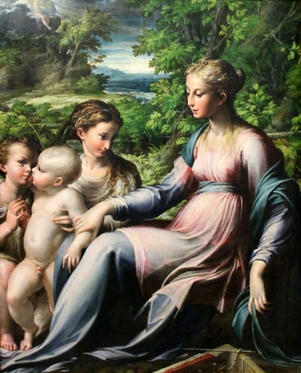 Francesco Mazzuola, called Parmigianino (1503-1540), Virgin With Child, St. John the Baptist, and Mary Magdalene Oil on paper mounted on panel: 75.5 x 59.7 cm Winchcombe, Sudeley Castle Photo : Getty Museum
