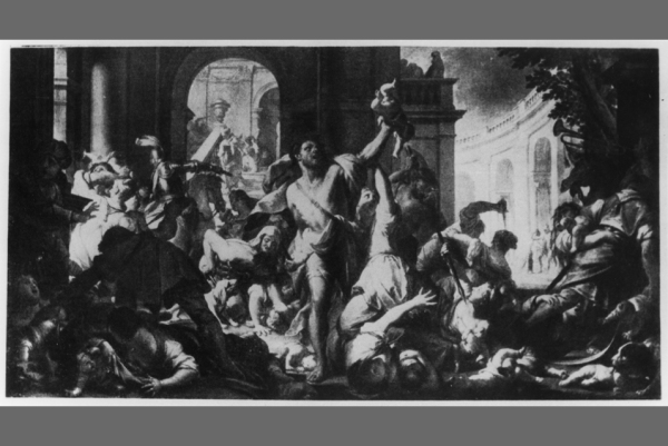 Francesco Trevisani, Massacre of the Innocents, around 1714, oil on canvas, 250 x 464 cm, Gemäldegalerie Alte Meister, Staatliche Kunstsammlungen Dresden, gallery no. 445, destroyed by fire in 1945 in Dresden.