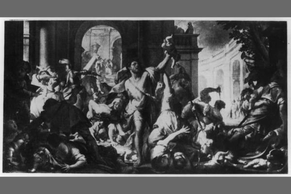 Francesco Trevisani, Massacre of the Innocents, around 1714, oil on canvas, 250 x 464 cm, Gemäldegalerie Alte Meister, Staatliche Kunstsammlungen Dresden, gallery no. 445, destroyed by fire in 1945 in Dresden.