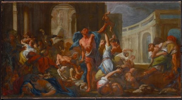 "Francesco Trevisani, Massacre of the Innocents (study), around 1714, oil on canvas, 75 x 136 cm, Gemäldegalerie Alte Meister, Staatliche Kunstsammlungen Dresden, DLN Nr. 2016/2; copyright: SKD, photograph: Estel/Klut. 2016 gift from Karen S. W. Friedman, Edward A. Friedman, Kristin Friedman, Theodore N. Mirvis, Ruth Mirvis, Gary D. Friedman, Darcy Bradbury and Eric Seiler through the ""Friends of Dresden"" in New York City"