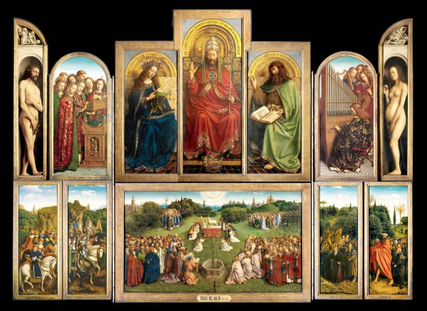 """These interior wooden panels, featuring Adam and Eve (holding a citrus fruit), and the iconic """"The Adoration of the Mystic Lamb,"""" have yet to be restored. For many years, the inside panels were only displayed on feast days. Click on image to enlarge."""