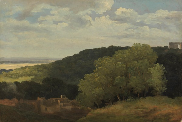 Pierre Henri de Valenciennes (Toulouse 1750-Paris 1819) View of the Roman Campagna near Subiaco, c. 1782 Oil on paper: 12 7/8 x 19 in. Click on image to enlarge