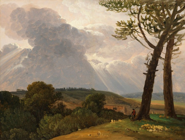 Simon Denis (Antwerp 1755-Naples 1812) Study of the Roman Campagna, c 1800. Oil on paper. Click on image to enlarge